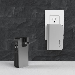mycharge powerbank design plugged into a wall