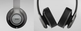 closeup details of JAM Wireless Headphones with gesture control interface